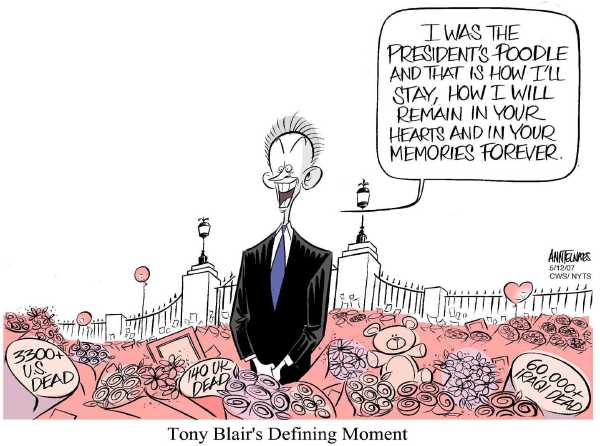 Editorial Cartoon by Ann Telnaes, CWS/CartoonArts Intl. on Blair to Step Down
