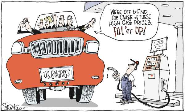 an analysis of an editorial and cartoon on rising gas prices Determining what causes the rise and fall of gas prices isn't easy  we wonder  why he alone is allowed to make the cost-benefit analysis.