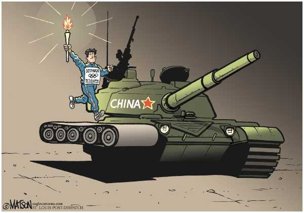 Editorial Cartoon by RJ Matson, Cagle Cartoons on Olympic Torch Triggers Protests