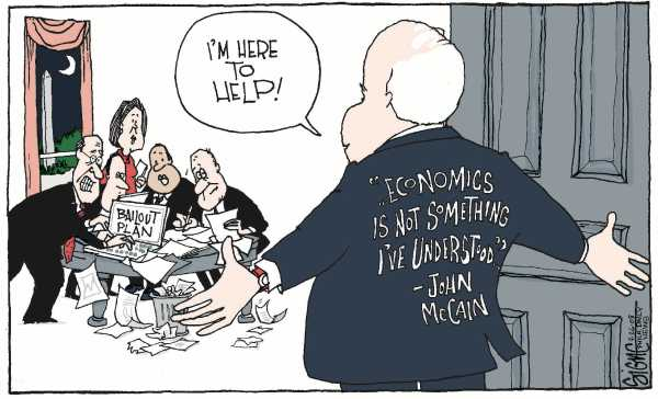 Editorial Cartoon by Signe Wilkinson, Philadelphia Daily News on McCain Moves Outside the Box
