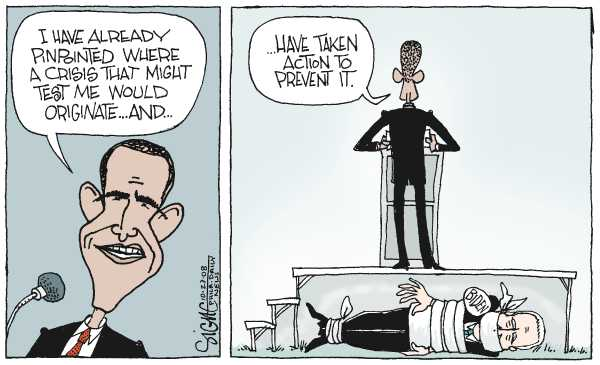 Editorial Cartoon by Signe Wilkinson, Philadelphia Daily News on Obama Gains Big Lead in All Polls