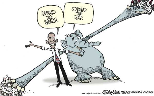Editorial Cartoon by Mike Keefe, Denver Post on Obama Gains Big Lead in All Polls