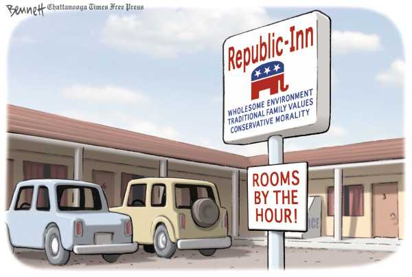 Political/Editorial Cartoon by Clay Bennett, Chattanooga Times Free Press on GOP Adapts to Changing Times