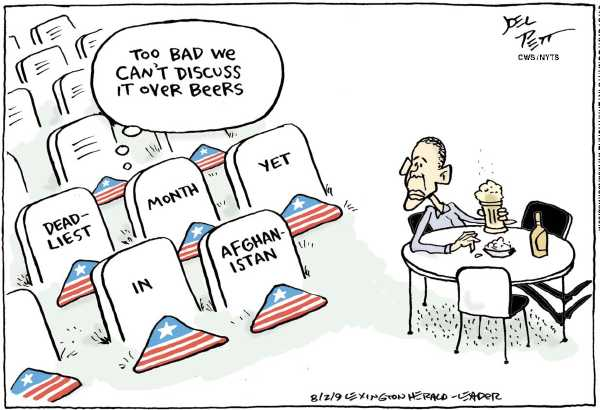 Political/Editorial Cartoon by Joel Pett, Lexington Herald-Leader, CWS/CartoonArts Intl. on Obama Feeling the Heat