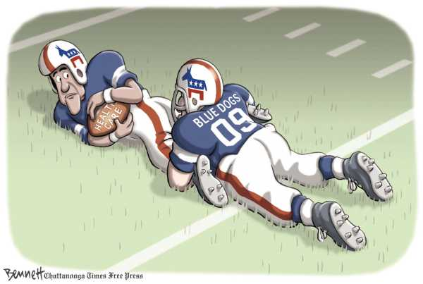 Political/Editorial Cartoon by Clay Bennett, Chattanooga Times Free Press on Health Care Reform on Track