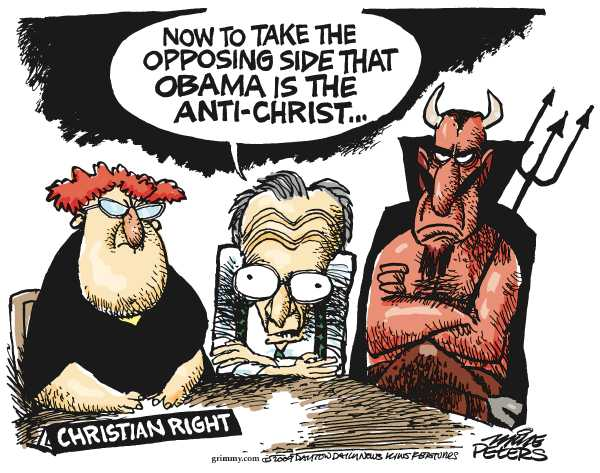 Political/Editorial Cartoon by Mike Peters, Dayton Daily News on Opposition to Obama Growing