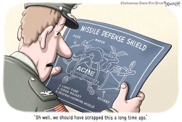 Political/Editorial Cartoon by Clay Bennett, Chattanooga Times Free Press on Missle Shield Scrapped