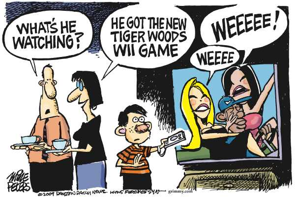 Political/Editorial Cartoon by Mike Peters, Dayton Daily News on Tiger Woods Injured