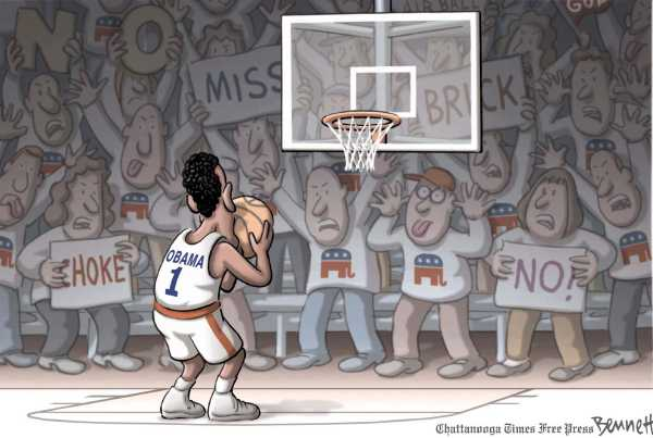 Political/Editorial Cartoon by Clay Bennett, Chattanooga Times Free Press on Obama Calls for Unity