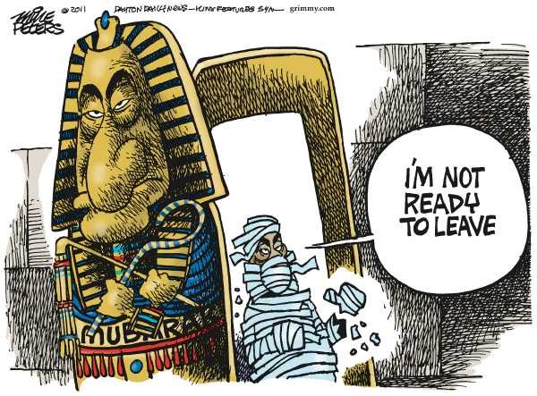 Political/Editorial Cartoon by Mike Peters, Dayton Daily News on Egyptians Rise Up