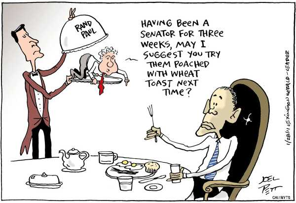 Political/Editorial Cartoon by Joel Pett, Lexington Herald-Leader, CWS/CartoonArts Intl. on GOP, Obama Working Together