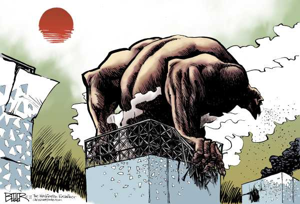 Political/Editorial Cartoon by Nate Beeler, Washington Examiner on Earthquake, Tsunami Ravage Japan