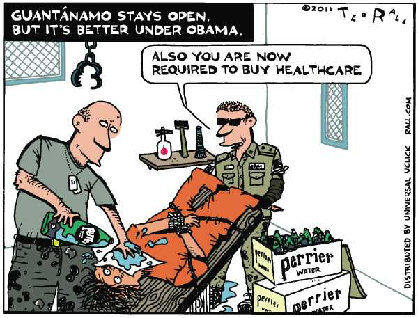 Political/Editorial Cartoon by Ted Rall on Obama Stays The Course