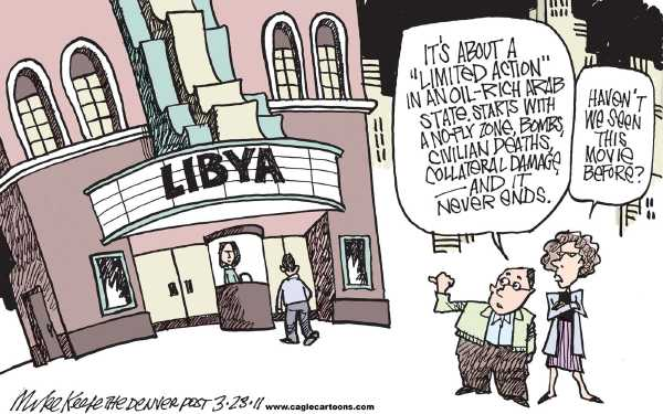 Political/Editorial Cartoon by Mike Keefe, Denver Post on Libya Attacked