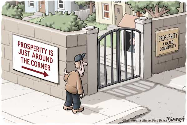 Political/Editorial Cartoon by Clay Bennett, Chattanooga Times Free Press on Economy Showing Positive Signs
