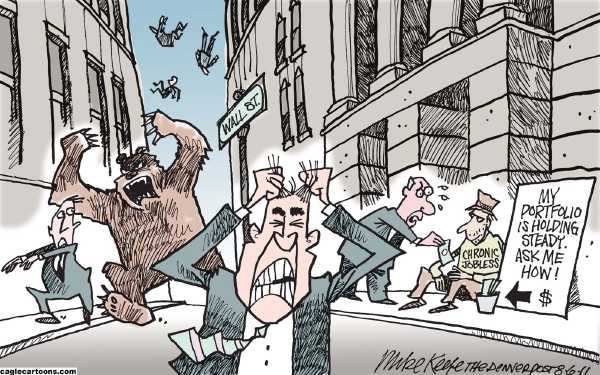 Political/Editorial Cartoon by Mike Keefe, Denver Post on Stock Market Plummets