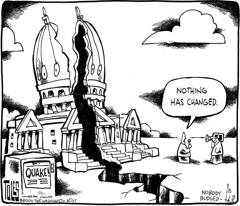 Political/Editorial Cartoon by Tom Toles, Washington Post on 5.8 Quake Jolts East