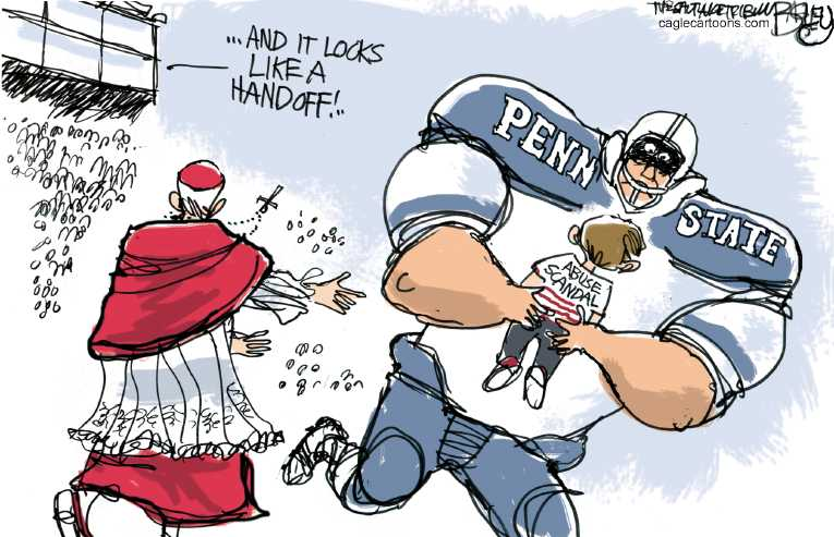 Political/Editorial Cartoon by Pat Bagley, Salt Lake Tribune on Paterno Goes Down