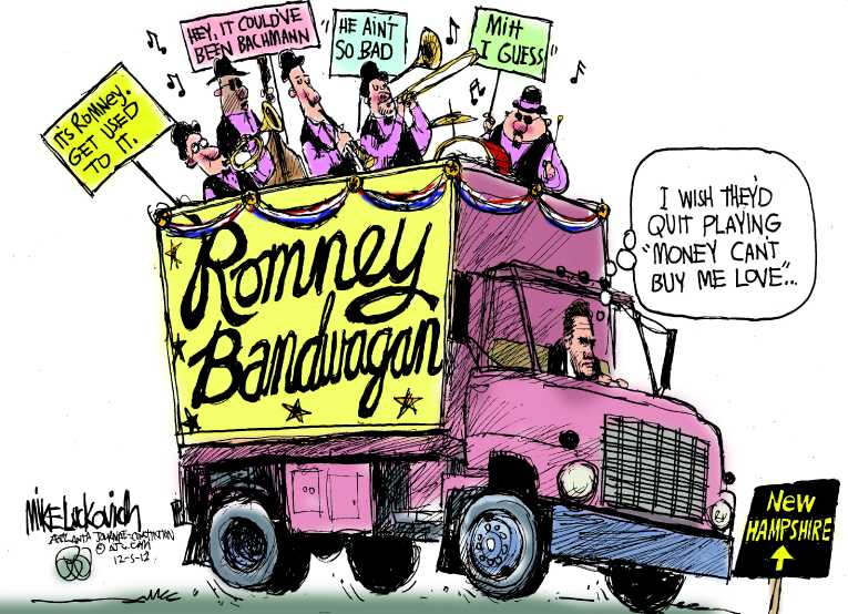 Political/Editorial Cartoon by Mike Luckovich, Atlanta Journal-Constitution on Romney, Santorum, Paul Win Iowa