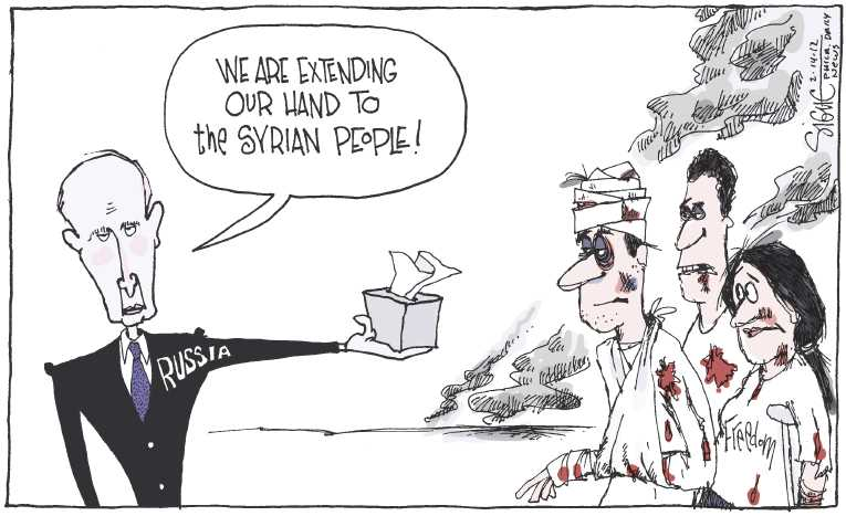 Political/Editorial Cartoon by Signe Wilkinson, Philadelphia Daily News on Syrian Killings Escalate