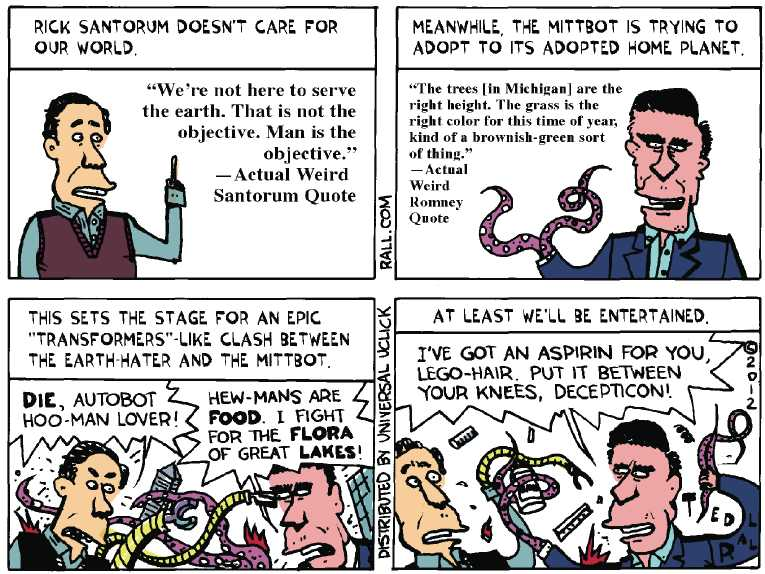 Political/Editorial Cartoon by Ted Rall on Romney Wins Michigan