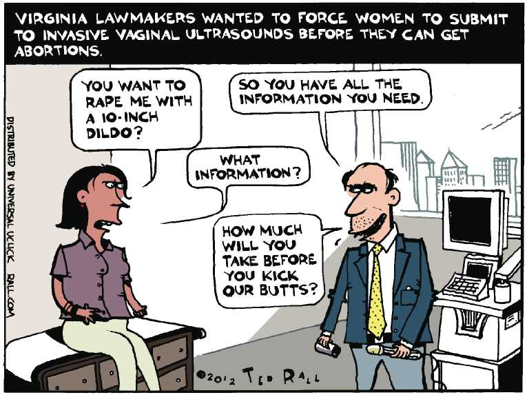 Political/Editorial Cartoon by Ted Rall on Reproductive Rights Battle Escalates