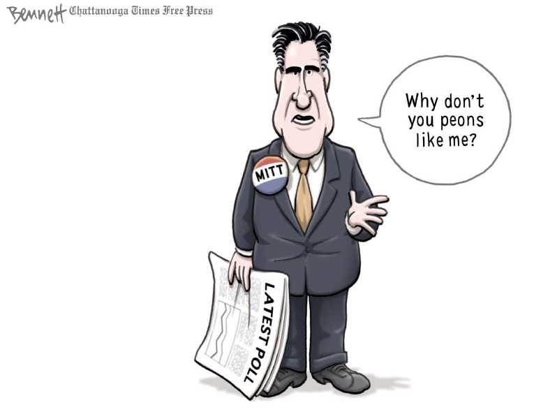 Political/Editorial Cartoon by Clay Bennett, Chattanooga Times Free Press on Romney Perplexed by Polls