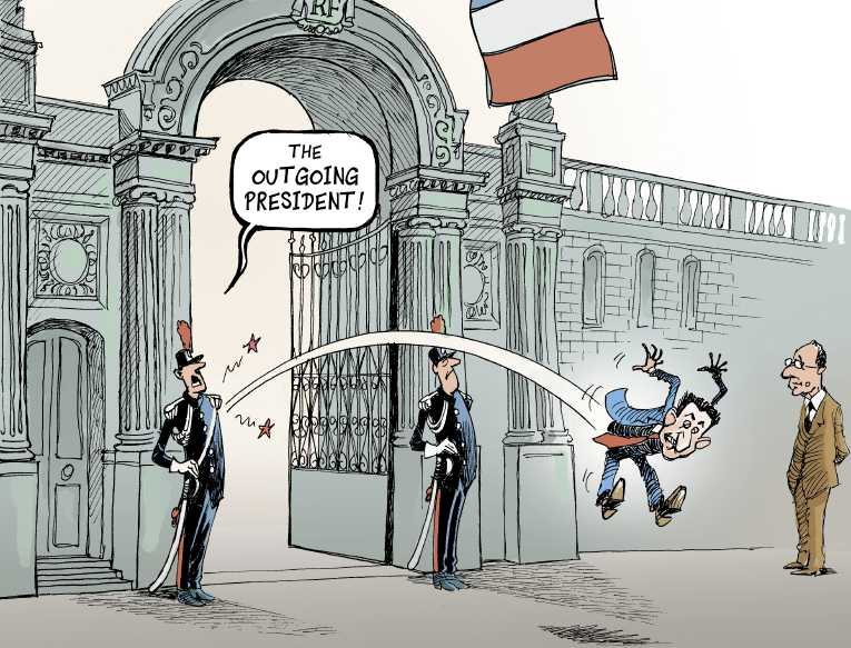 Political/Editorial Cartoon by Patrick Chappatte, International Herald Tribune on France Rejects Austerity Measures