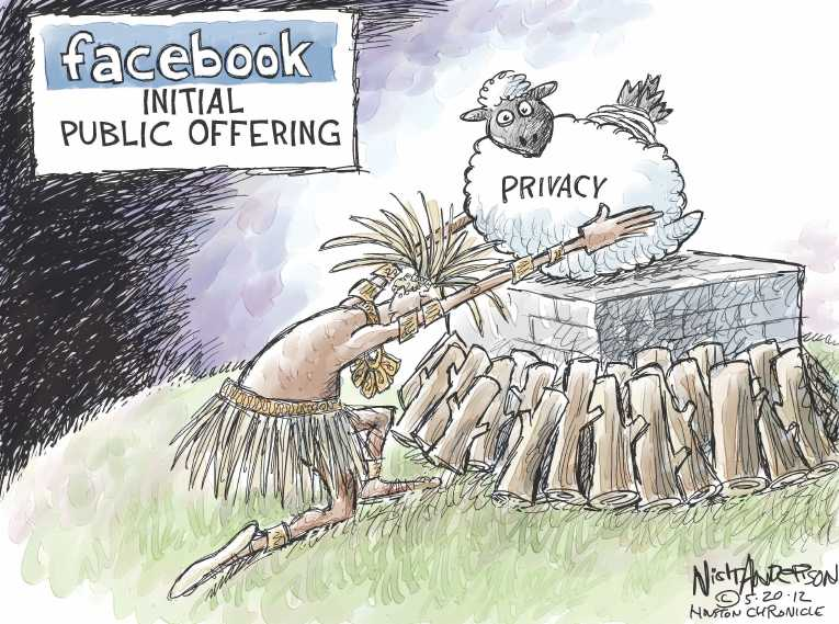 Political/Editorial Cartoon by Nick Andersen, Houston Chronicle on Facebook Goes Public