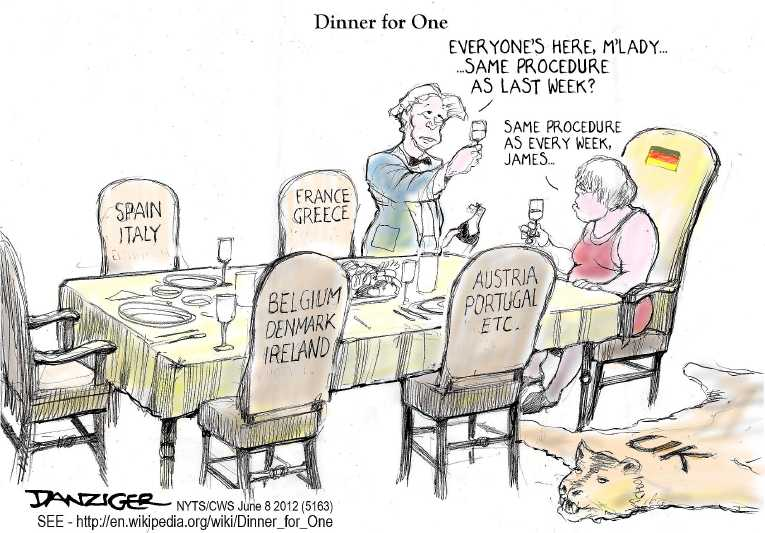 Political/Editorial Cartoon by Jeff Danziger, CWS/CartoonArts Intl. on Euro Crisis Heightening
