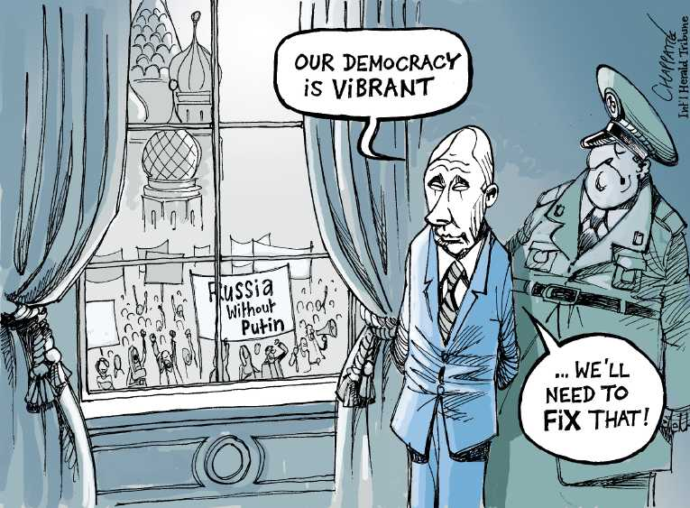 Political/Editorial Cartoon by Patrick Chappatte, International Herald Tribune on In Other News