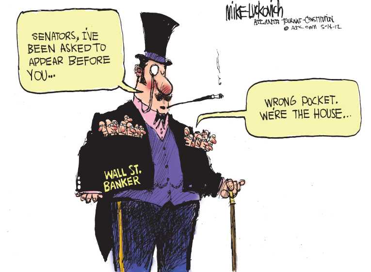 Political/Editorial Cartoon by Mike Luckovich, Atlanta Journal-Constitution on Bankers Explain