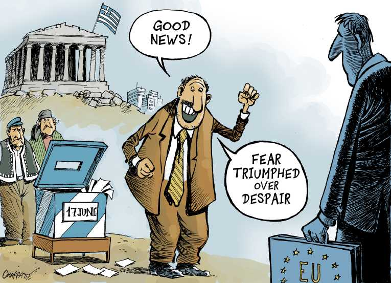 Political/Editorial Cartoon by Patrick Chappatte, International Herald Tribune on Greeks Elect Conservative