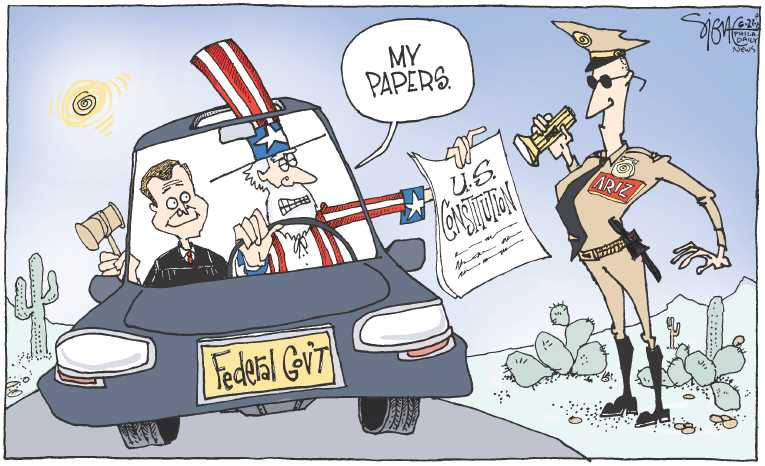 Political/Editorial Cartoon by Signe Wilkinson, Philadelphia Daily News on Supreme Court Guts Arizona Law