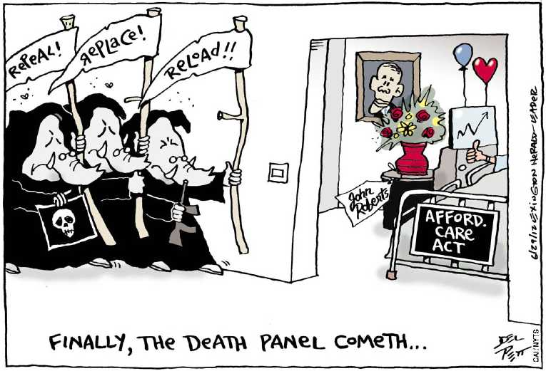 Political/Editorial Cartoon by Joel Pett, Lexington Herald-Leader, CWS/CartoonArts Intl. on GOP Warns of Death Panels