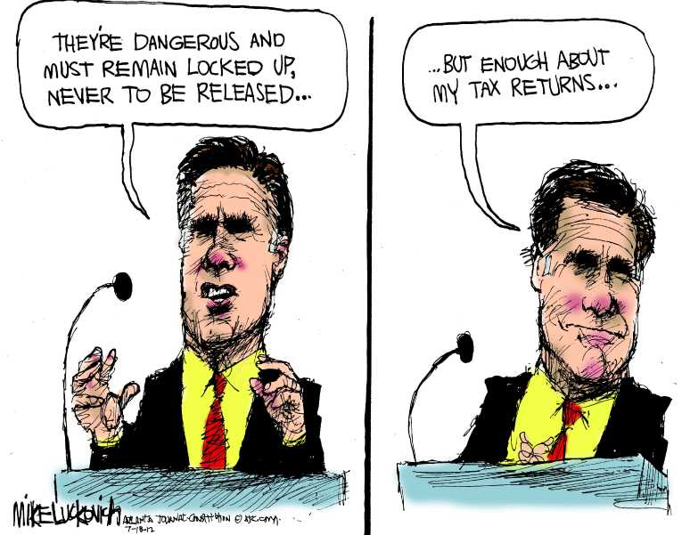 Political/Editorial Cartoon by Mike Luckovich, Atlanta Journal-Constitution on Romney Goes on the Defensive