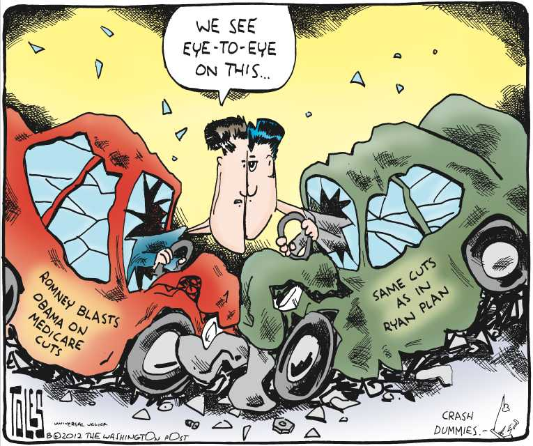 Political/Editorial Cartoon by Tom Toles, Washington Post on Ryan Choice Having Major Impact