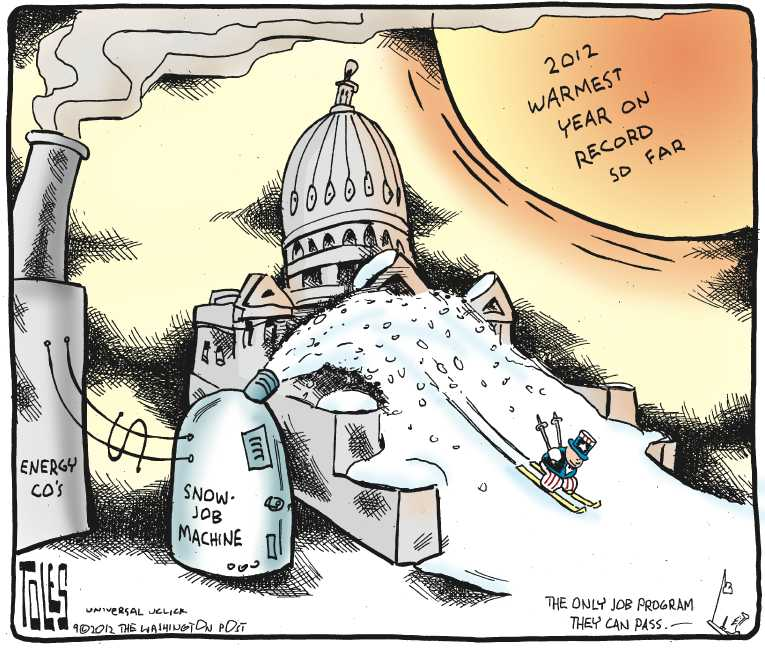 Political/Editorial Cartoon by Tom Toles, Washington Post on Climate Change Debate Continuing