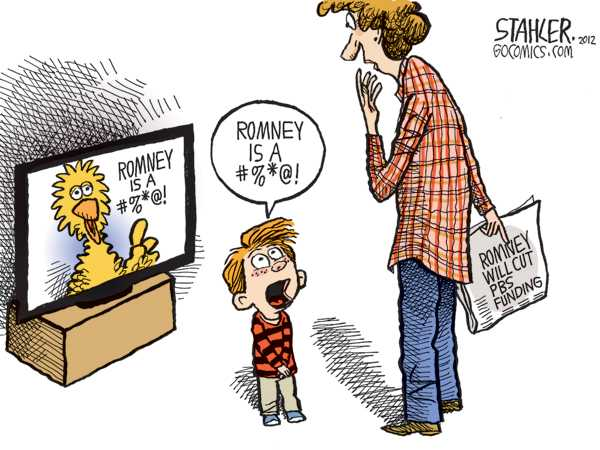 Political/Editorial Cartoon by Jeff Stahler on Big Bird Threatened