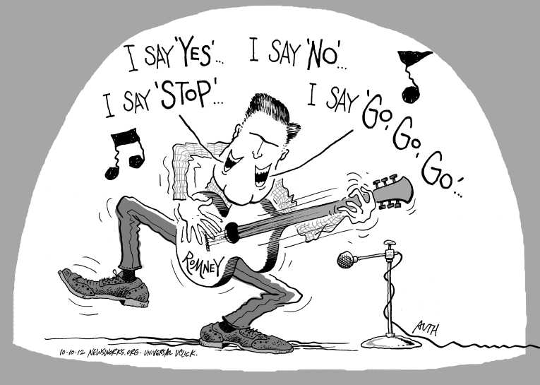 Political/Editorial Cartoon by Tony Auth, Philadelphia Inquirer on Romney Surging