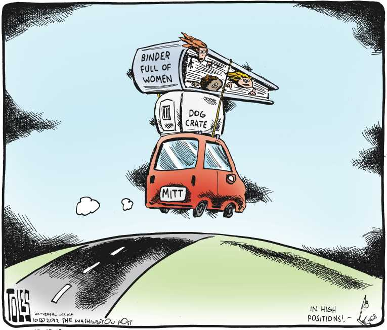 Political/Editorial Cartoon by Tom Toles, Washington Post on Romney Loses Round 2