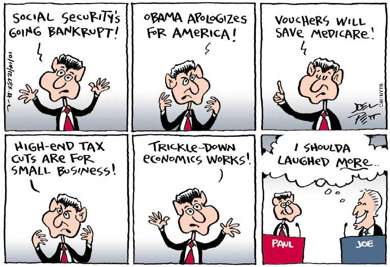 Political/Editorial Cartoon by Joel Pett, Lexington Herald-Leader, CWS/CartoonArts Intl. on Ryan Destroys Ryan