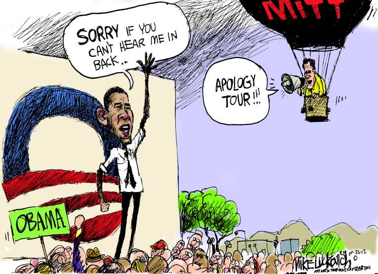 Political/Editorial Cartoon by Mike Luckovich, Atlanta Journal-Constitution on Race Is Neck and Neck