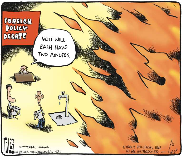 Political/Editorial Cartoon by Tom Toles, Washington Post on Obama Wins Third Debate