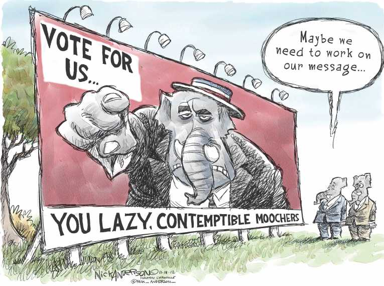 Political/Editorial Cartoon by Nick Andersen, Houston Chronicle on Republican Party Reloads