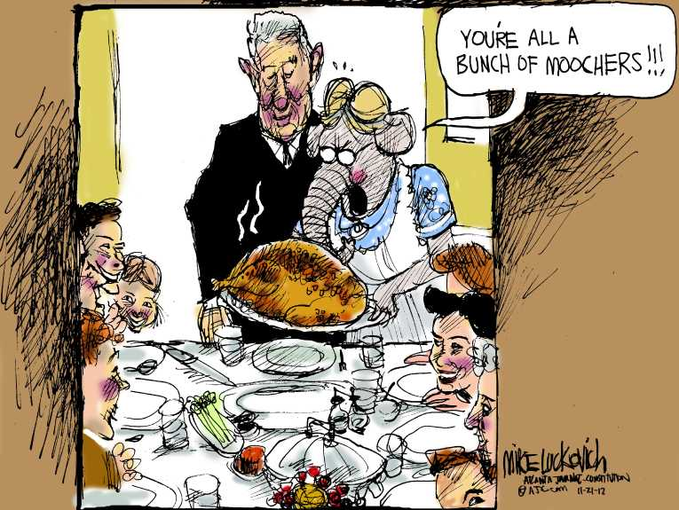 Political/Editorial Cartoon by Mike Luckovich, Atlanta Journal-Constitution on Americans Celebrate Thanksgiving
