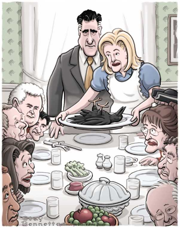 Political/Editorial Cartoon by Clay Bennett, Chattanooga Times Free Press on Americans Celebrate Thanksgiving