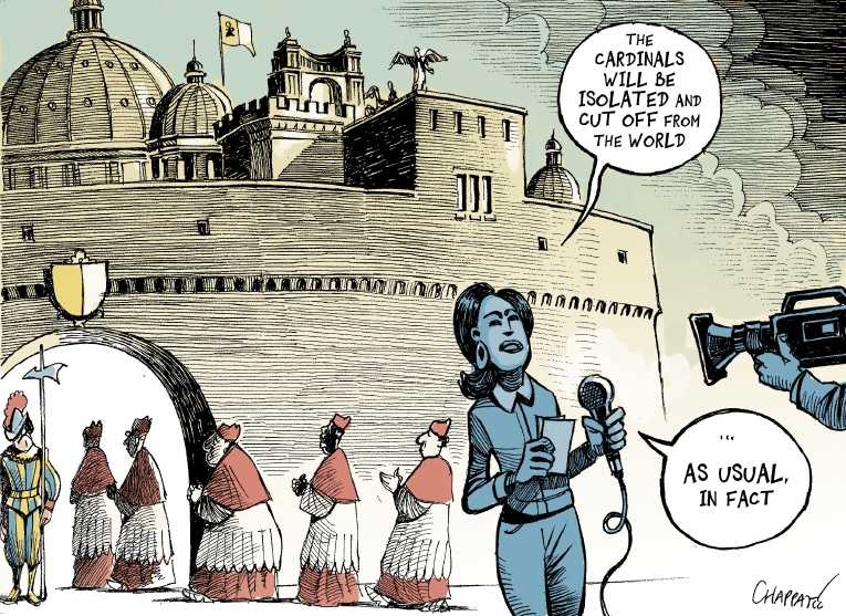 Political/Editorial Cartoon by Patrick Chappatte, International Herald Tribune on New Pope Chosen