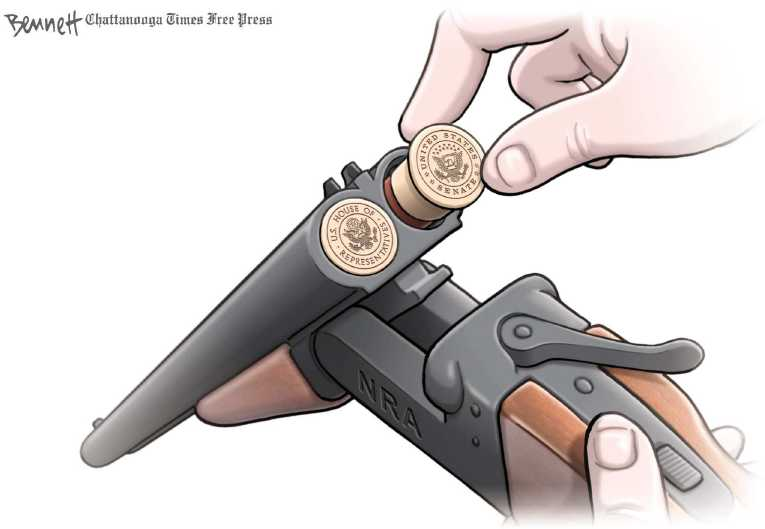 Bush swinging on gun cartoon