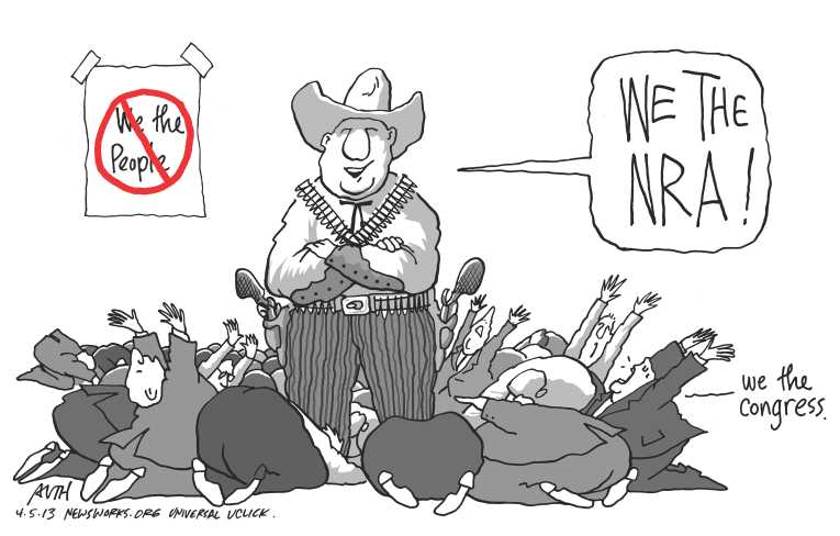 Political/Editorial Cartoon by Tony Auth, Philadelphia Inquirer on Gun Compromise Reached